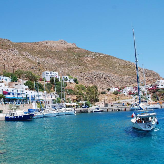 """Livadia harbour, Tilos island"" stock image"