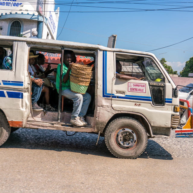 """""""Haitian tap-tap is a pickup truck converted into a bus"""" stock image"""