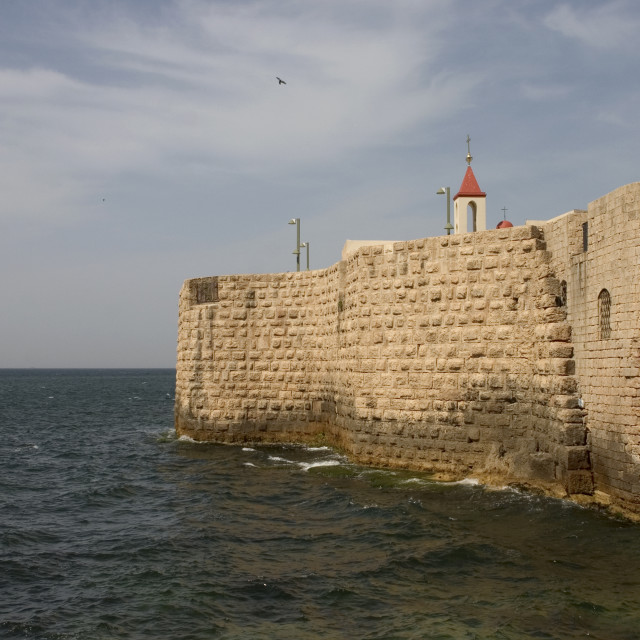 """The fortified wall of Akko, Israel"" stock image"
