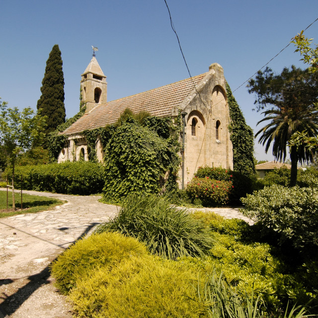 """Evangelical Church in Alonei Abba, Israel"" stock image"