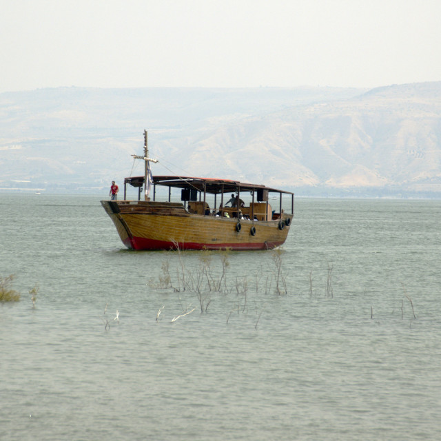 """Woden boat on the sea of Galilee, Israel"" stock image"