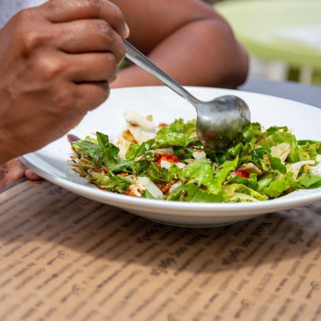 """Eating Salad"" stock image"