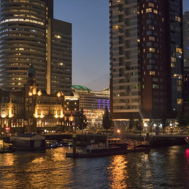 """""""Kop van Zuid, Rotterdam at night"""" stock image"""