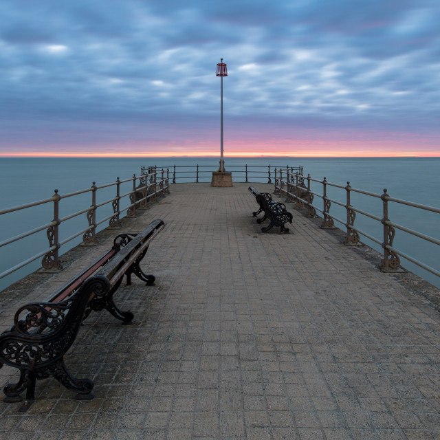 """Sunrise at the Banjo Pier in Swanage, Dorset"" stock image"