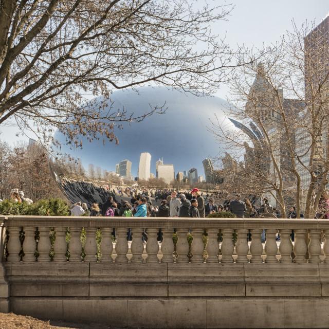 """View on Cloud gate sculpture in Millenium Park, Chicago"" stock image"