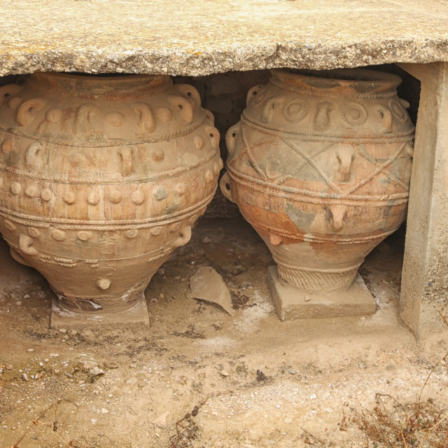 """Ancient Minoan jars at Phaistios in Crete"" stock image"