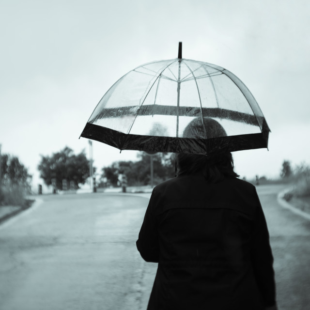 """Woman from behind dressed in black with transparent umbrella in the rain"" stock image"