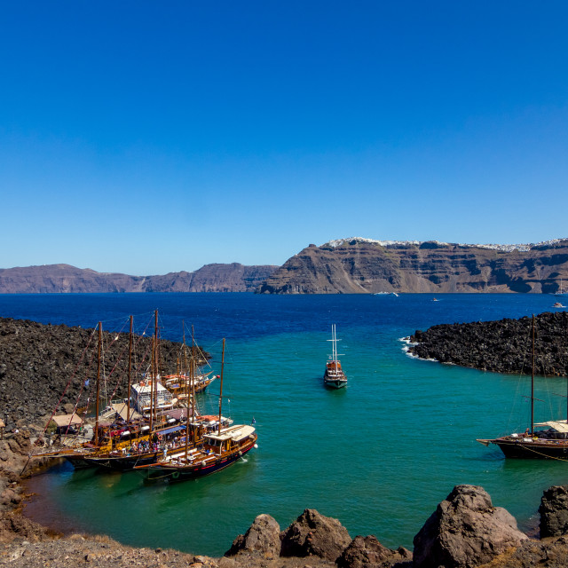 """Nea Kameri port view with boats, Santorini, Greece"" stock image"