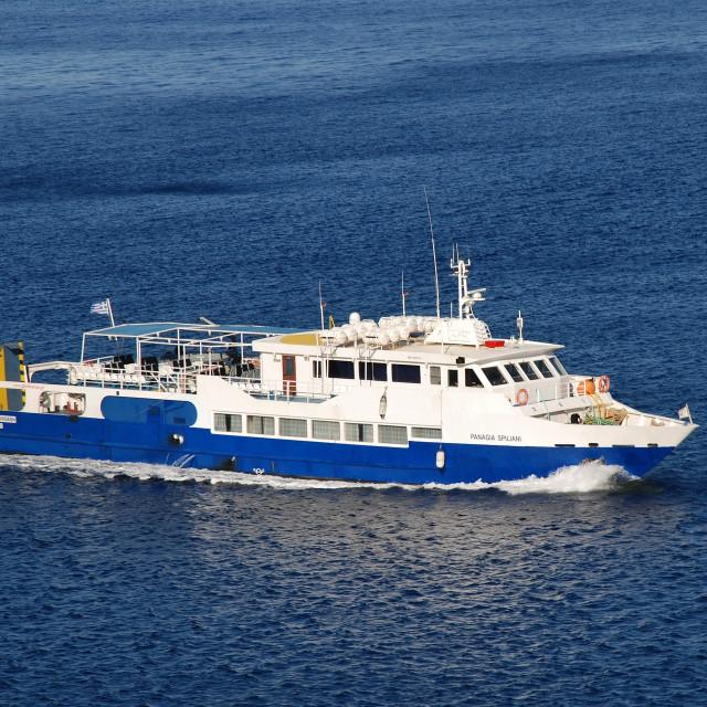 """""""Panagia Spiliani ferry, Tilos"""" stock image"""