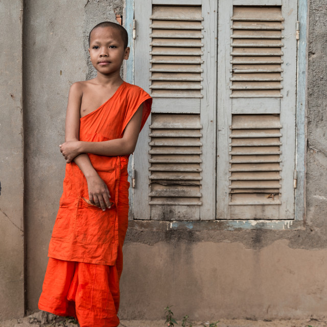 """Young novice monk"" stock image"