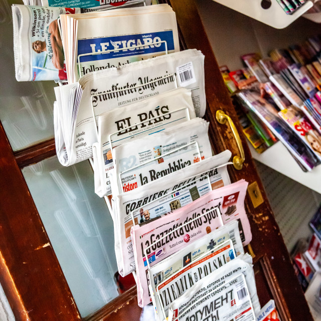 """Foreign Newspaper Rack in Oxford, England"" stock image"