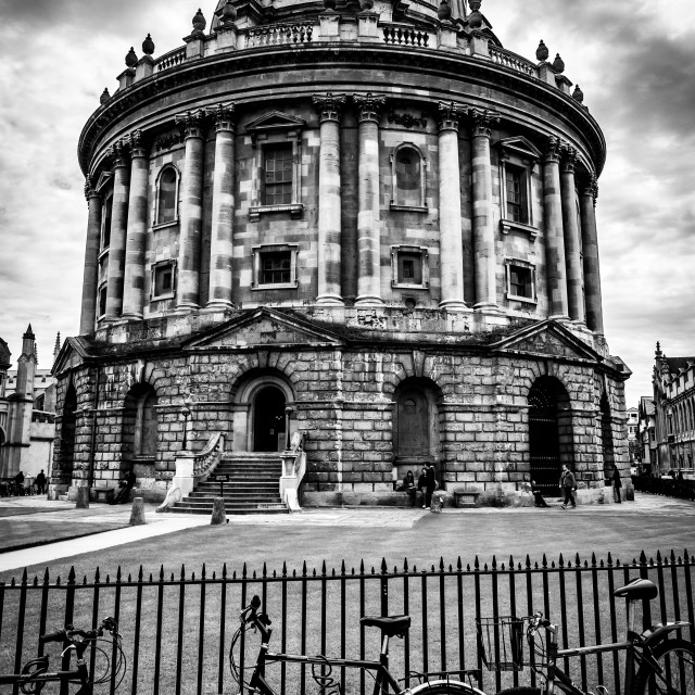 """""""Bikes on the Fence Outside the Bodleian Library, Oxford"""" stock image"""