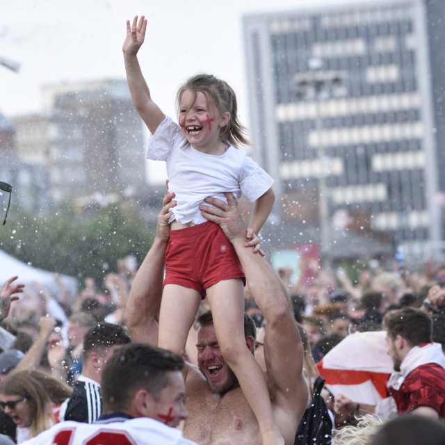 """FIFA World Cup: England fans Nottingham Castle,UK."" stock image"
