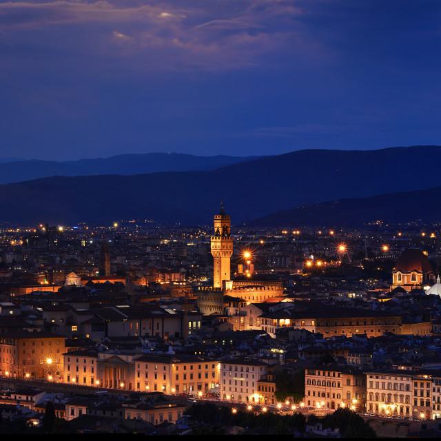 """""""Panorama of Duomo Santa Maria Del Fiore, tower of Palazzo Vecchio and famous bridge Ponte Vecchio."""" stock image"""