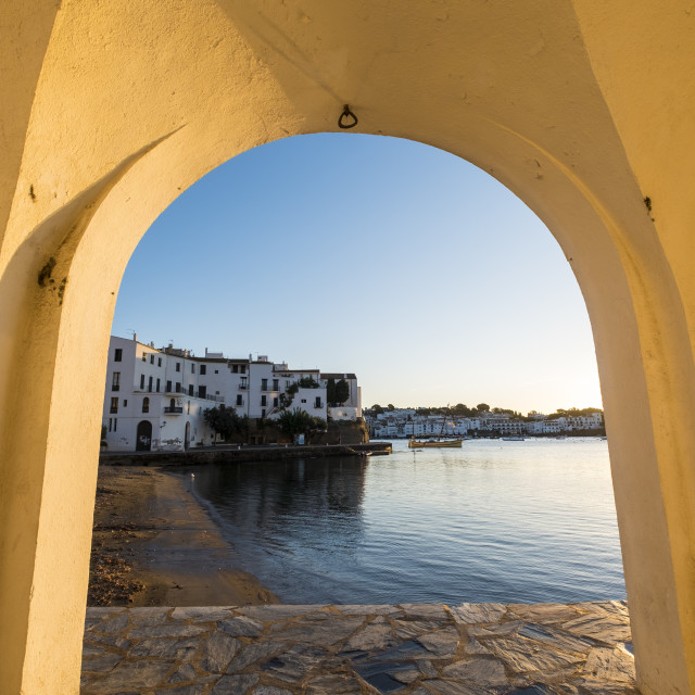 """The fishing village of Cadaques is one of the most visited tourist destinations on the Costa Brava in the province of Girona in Catalonia Spain"" stock image"