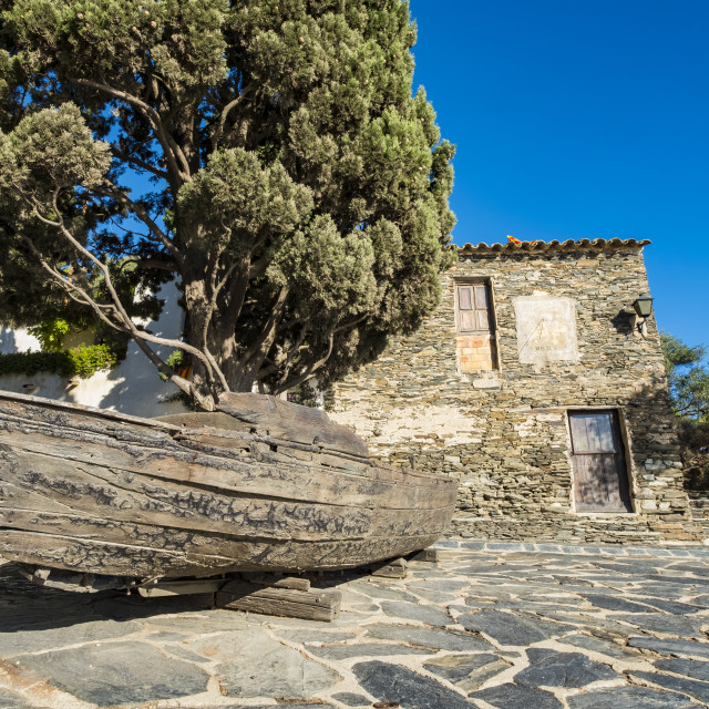 """Mediterranean architecture in the fishing village of Portlligat in the nature reserve of Cap de Creus on the Costa Brava in the province of Girona in Catalonia"" stock image"