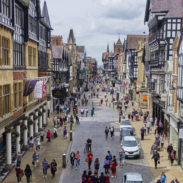 """""""Chester viewed from the clock"""" stock image"""
