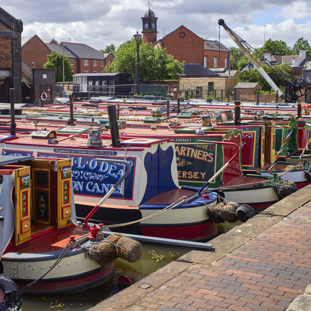 """""""Narrowboats on display at the Ellesemere Port"""" stock image"""