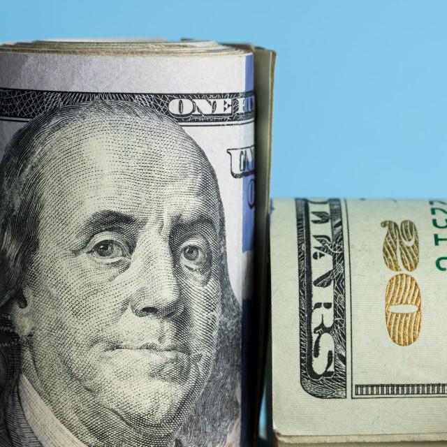 """Close macro of Benjamin Franklin on US 100 dollar note"" stock image"