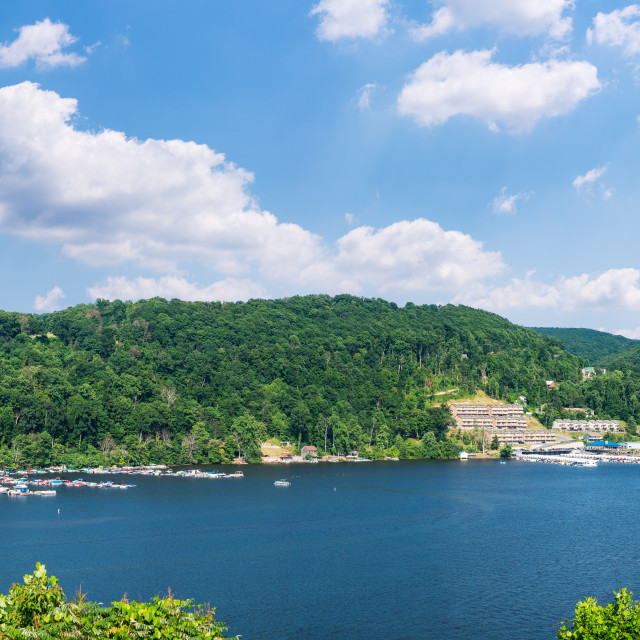 """""""Power boats in summer on Cheat Lake Morgantown"""" stock image"""