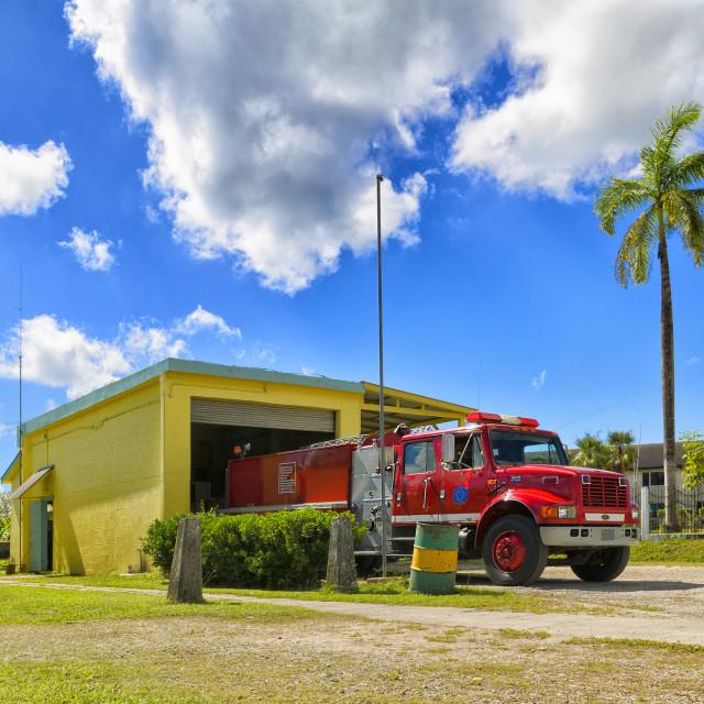 """Fire tender at Belmopan Fire Station"" stock image"