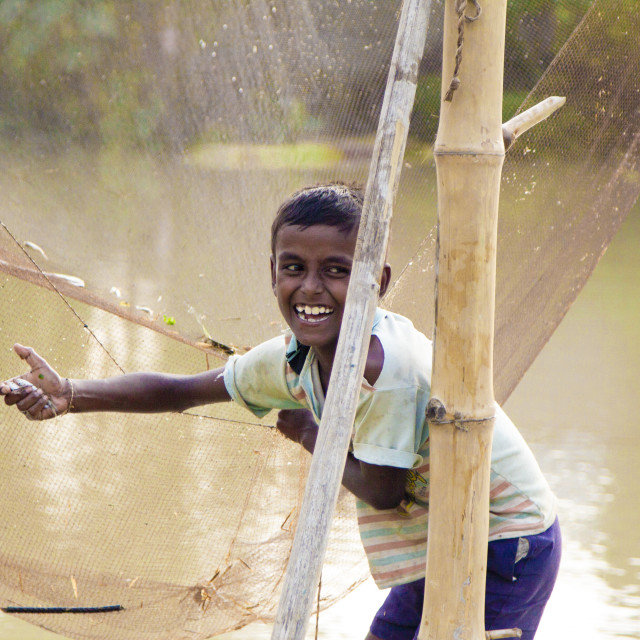 """catch - SMILE - FISHERBOY"" stock image"