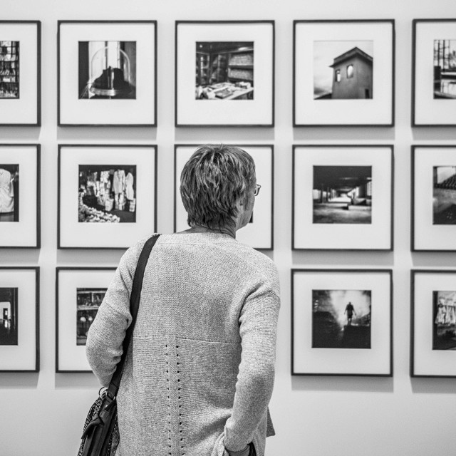 """Gallery viewer in monochrome"" stock image"