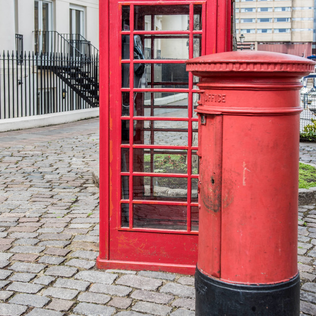 """Post box and telephone box"" stock image"