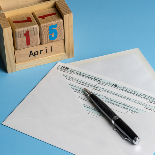 """""""Form 1040 Simplified in postcard envelope for filing taxes"""" stock image"""