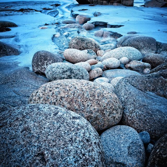 """""""Porth Nanven boulder stream"""" stock image"""