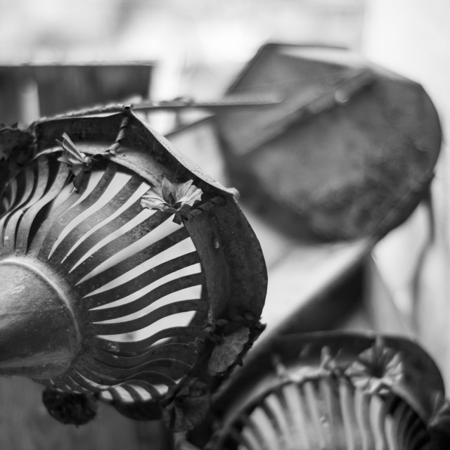 """Vintage broken rusty lantern, selective focus"" stock image"