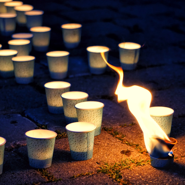 """""""THE CHALLENGE: Candles of Prayer, Meditation and Hope"""" stock image"""