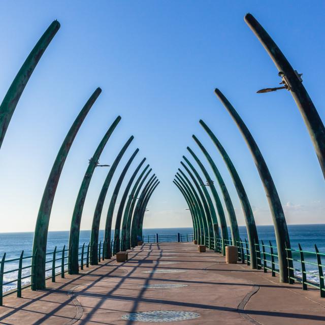 """Beach Ocean Pier Jetty Tusks Landscape"" stock image"