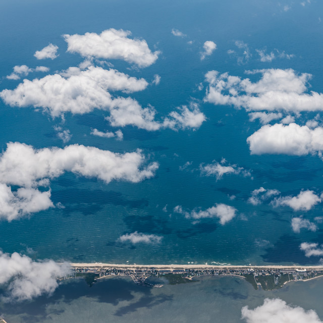 """Aerial view of Fire Island in New York through airplane window"" stock image"