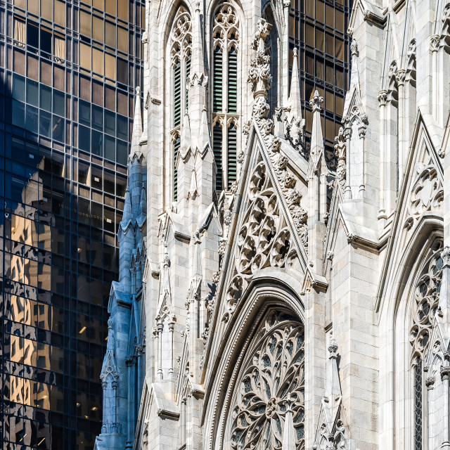 """Detail of facade St Patrick Cathedral of New York"" stock image"