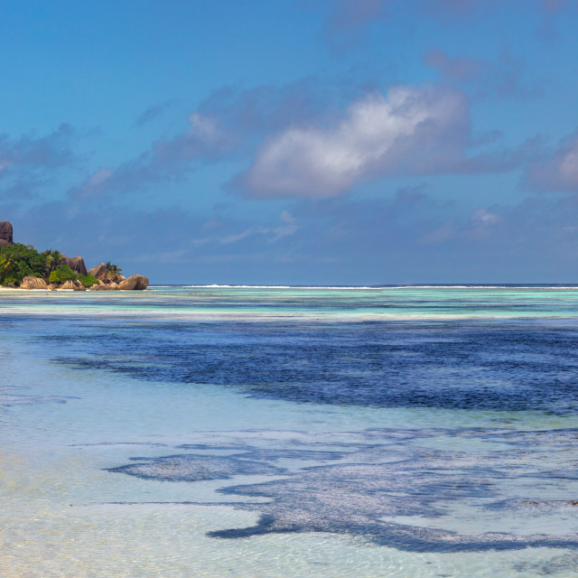 """Beach on La Digue, Seychelles"" stock image"