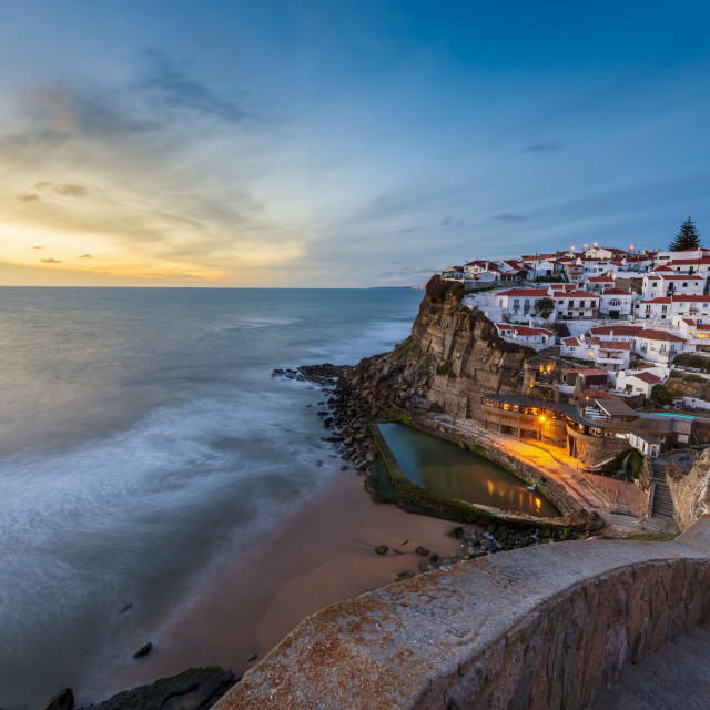 """The Azenhas do Mar village at sunset in Portugal, Europe; Concept for travel in Portugal and most beautiful places in Portugal"" stock image"