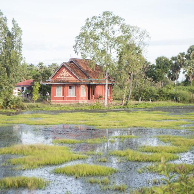 """""""CAMBODIA KAMPONG THOM LANDSCAPE HOUSE"""" stock image"""