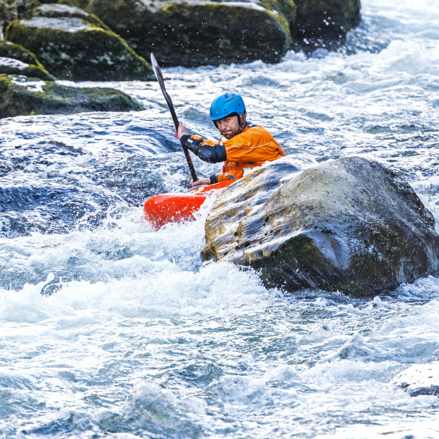 """Kayaking down the River Lyn"" stock image"