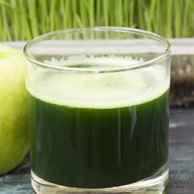 """""""Juice from wheat grass and green apple"""" stock image"""