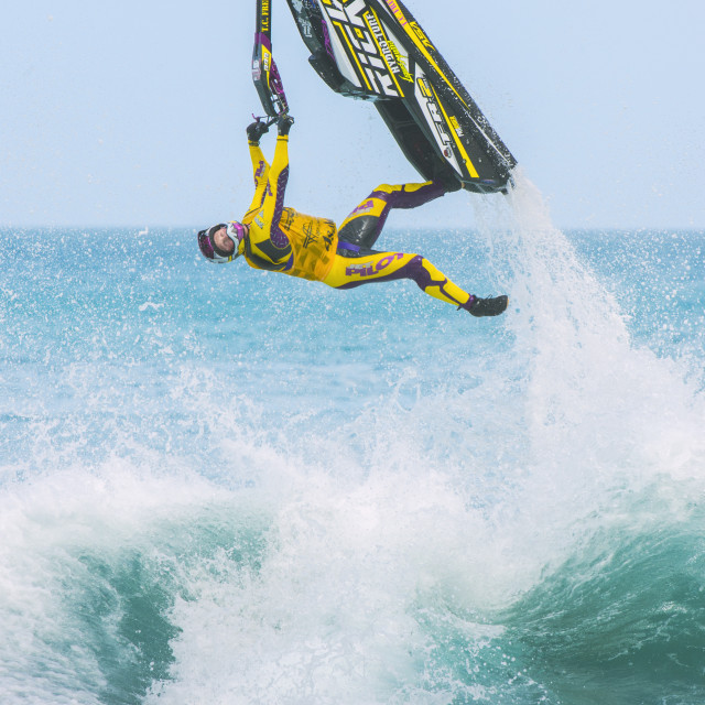 """Trick rider on a jet-ski"" stock image"