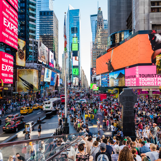 """Scenic view of Times Square with a crowd of people"" stock image"