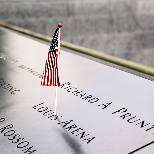 """American flag in National September 11 Memorial in New York City"" stock image"
