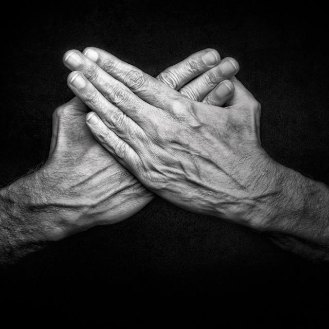 """Crossed man's hands"" stock image"