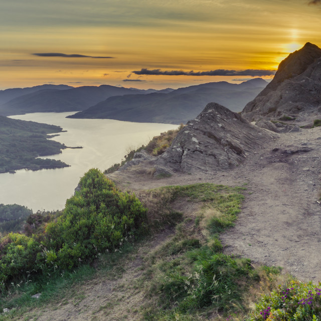 """""""Loch Katrine from the top of Ben A'an"""" stock image"""