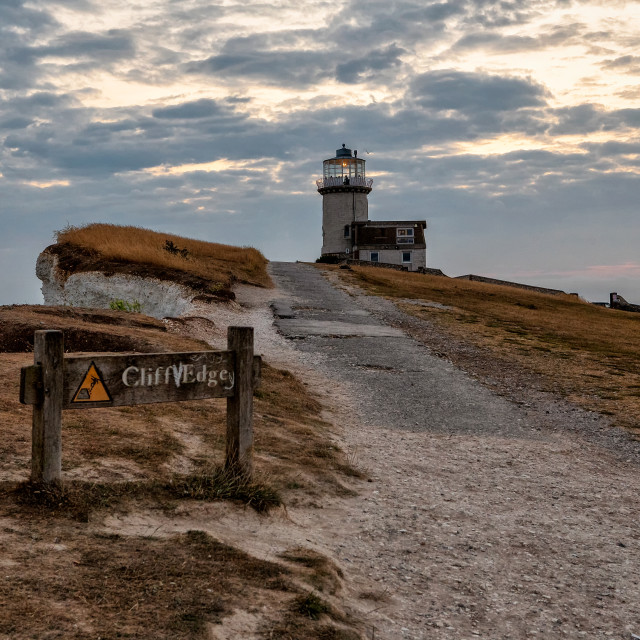 """Belle Tout Lighthouse and Sign"" stock image"