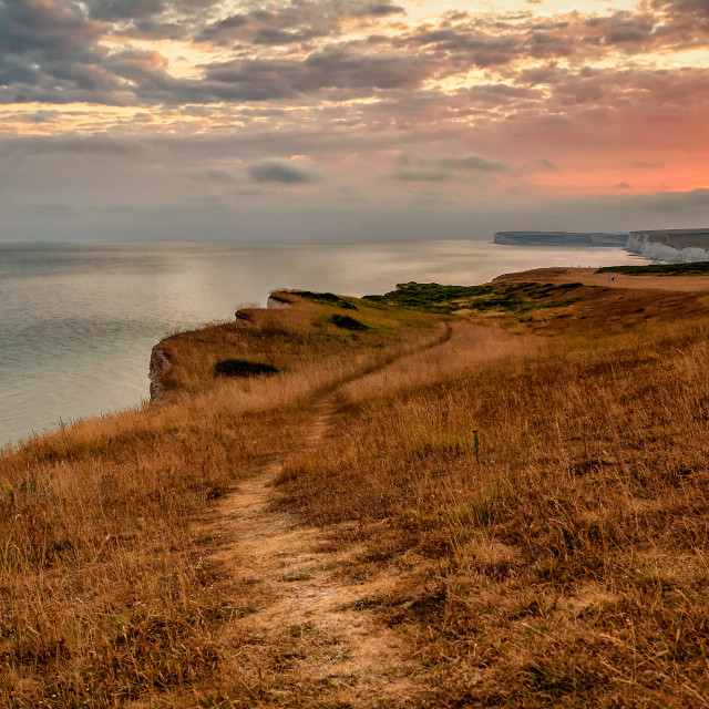 """Withered grass at Belle Tout"" stock image"