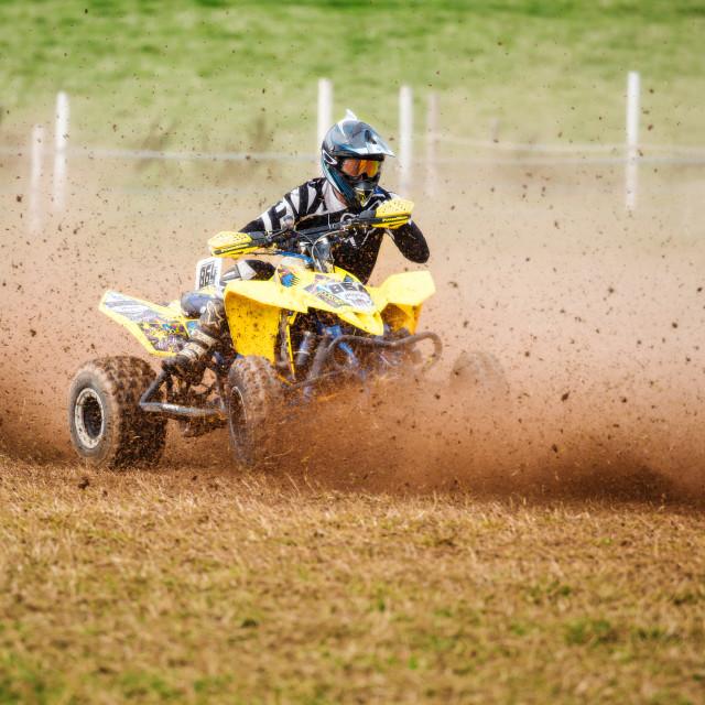 """Quad bike grass track racing"" stock image"