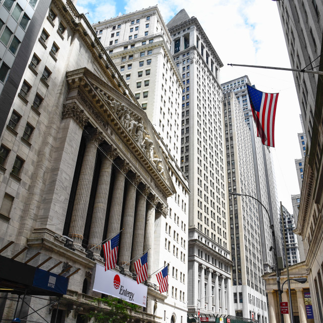 """Low angle view of New Stock Stock Exchange building in New York"" stock image"
