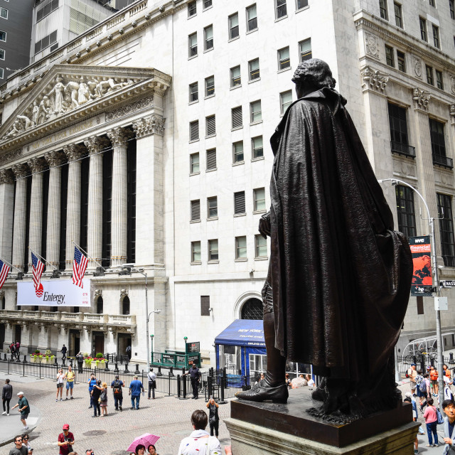 """Rear view of George Washington statue in Federal Hall in Wall St"" stock image"